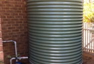 Slimline Rainwater Tank with Earth Ring and Pump